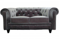 Canapé chesterfield velours argenté capitonné gris 2 places - Canape 2 places design