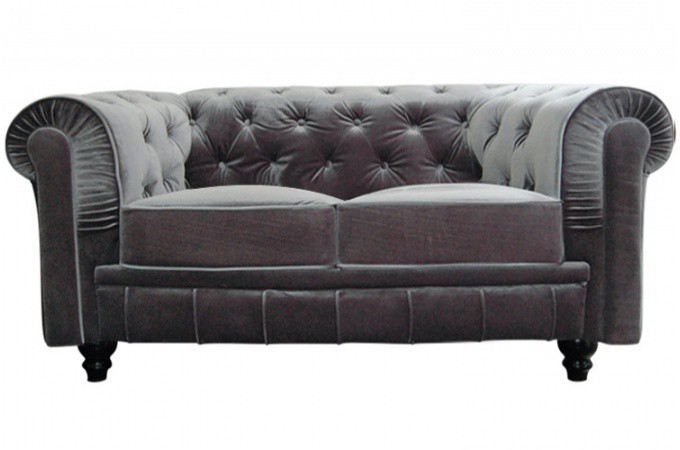 Canap chesterfield velours capitonn gris 2 places declikdeco - Chesterfield 2 places ...
