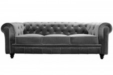 Canapé chesterfield velours capitonné gris argenté 3 places