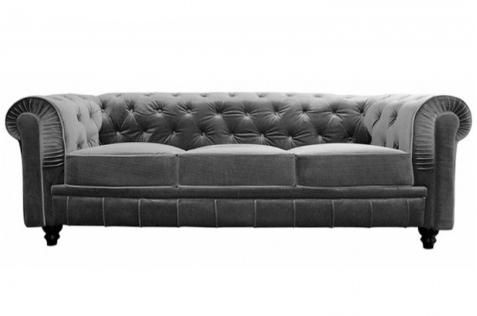 canap chesterfield velours capitonn gris 3 places declikdeco. Black Bedroom Furniture Sets. Home Design Ideas