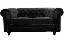 Canapé chesterfield velours capitonné noir 2 places - Canape chesterfield noir