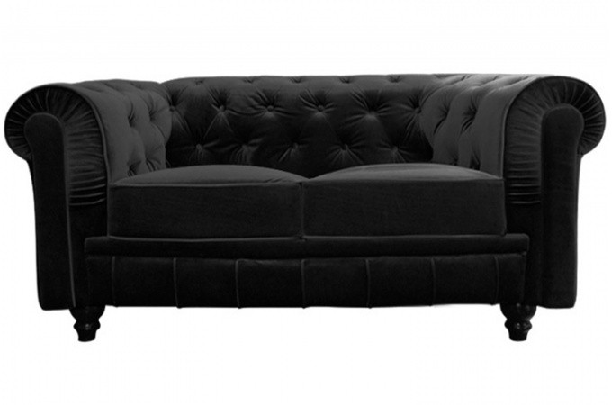 canap chesterfield velours capitonn noir 2 places. Black Bedroom Furniture Sets. Home Design Ideas