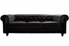 Canapé chesterfield velours capitonné noir 3 places