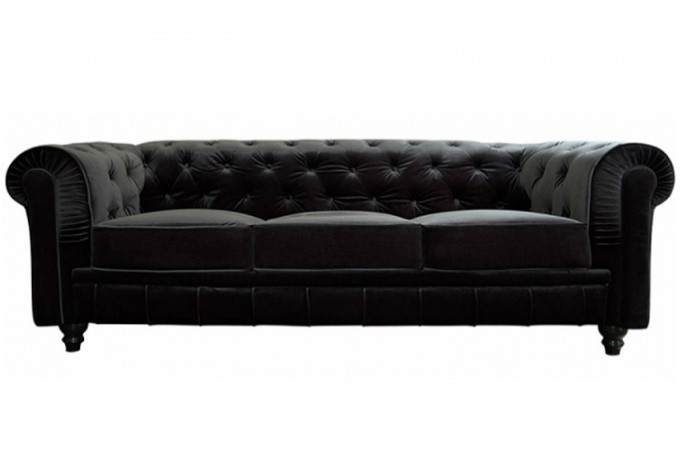 canap chesterfield velours capitonn noir 3 places declikdeco. Black Bedroom Furniture Sets. Home Design Ideas