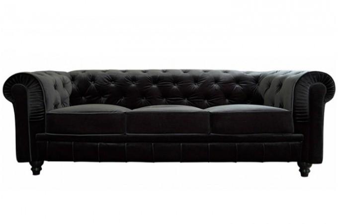 canap chesterfield velours capitonn noir 3 places. Black Bedroom Furniture Sets. Home Design Ideas