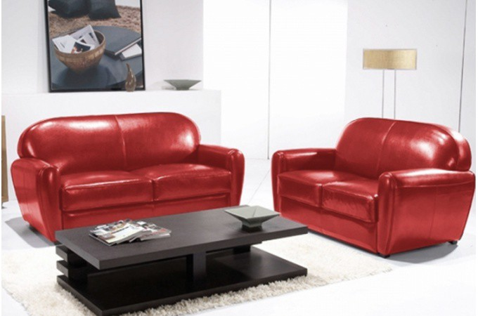 canap club rouge 3 places broadway canap s 2 et 3. Black Bedroom Furniture Sets. Home Design Ideas
