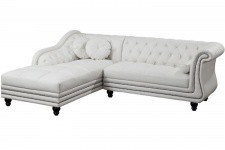Canapé d'angle droit blanc Chesterfield Diana - Canape chesterfield design