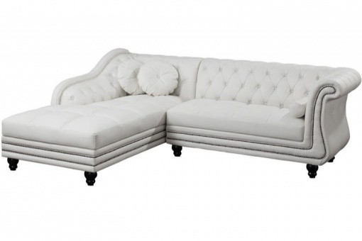 Canapé d'angle blanc Chesterfield DIANA - Canape d angle design