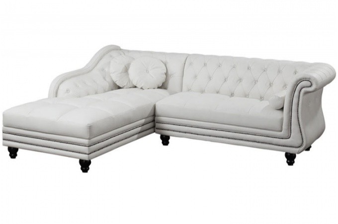 Canap d 39 angle gauche blanc chesterfield - Canape angle chesterfield ...