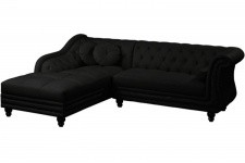 Canapé d'angle droit noir Chesterfield Diana - Canape chesterfield design