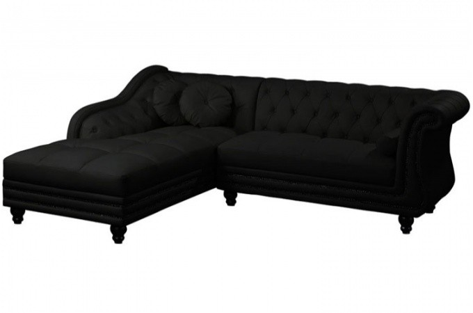 canap d 39 angle droit noir chesterfield diana canap d 39 angle pas cher. Black Bedroom Furniture Sets. Home Design Ideas