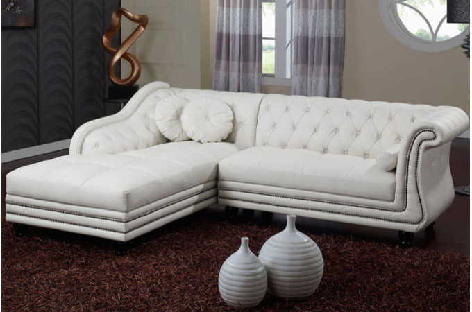 canap d 39 angle gauche blanc chesterfield. Black Bedroom Furniture Sets. Home Design Ideas