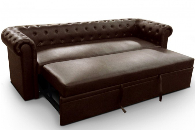 canap convertible chesterfield marron olivia declikdeco. Black Bedroom Furniture Sets. Home Design Ideas