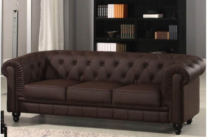 Canapé Chesterfield Cuir Choco Capitonné 3 Places