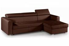 Canapé d'angle modulable et convertible avec coffre et têtières relevables choco, deco design
