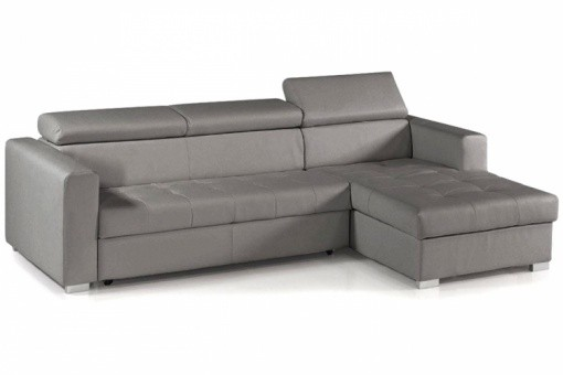 Canapé d'angle modulable et convertible avec coffre et têtières relevables Gris, deco design