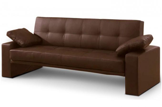 canap lit convertible matelass marron loft. Black Bedroom Furniture Sets. Home Design Ideas
