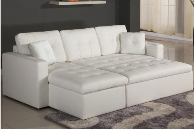 Canap d 39 angle modulable et convertible simili cuir blanc enzo canap d - Canape d angle cuir blanc pas cher ...
