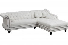 Canapé d'angle gauche blanc Chesterfield Diana - Canape chesterfield design