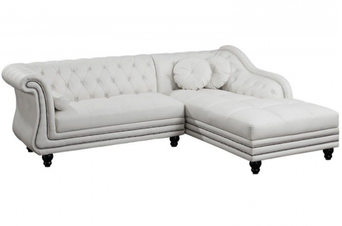 Canap d 39 angle droit blanc chesterfield declikdeco - Canape chesterfield d angle ...