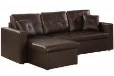 Canapé d'angle modulable et convertible simili cuir choco Enzo, deco design