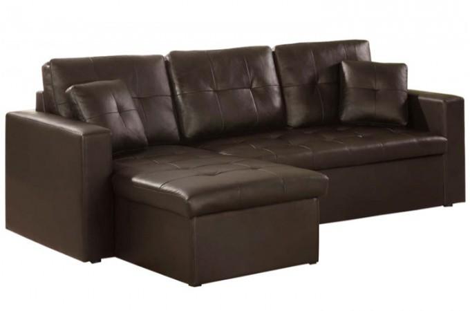 canap d 39 angle modulable et convertible 3 places chocolat. Black Bedroom Furniture Sets. Home Design Ideas