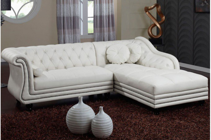 canap d 39 angle droit blanc chesterfield declikdeco. Black Bedroom Furniture Sets. Home Design Ideas