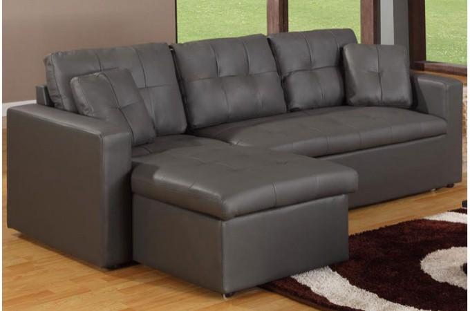 canap d 39 angle modulable et convertible 3 places gris enzo canap d 39. Black Bedroom Furniture Sets. Home Design Ideas