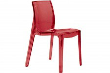 Chaise Design Rouge Transparente LADY - Chaise rouge design