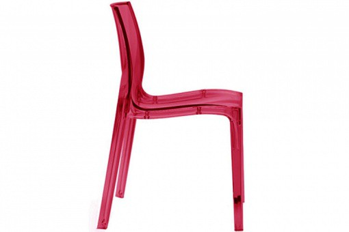 Chaise Design Rouge Transparente LADY
