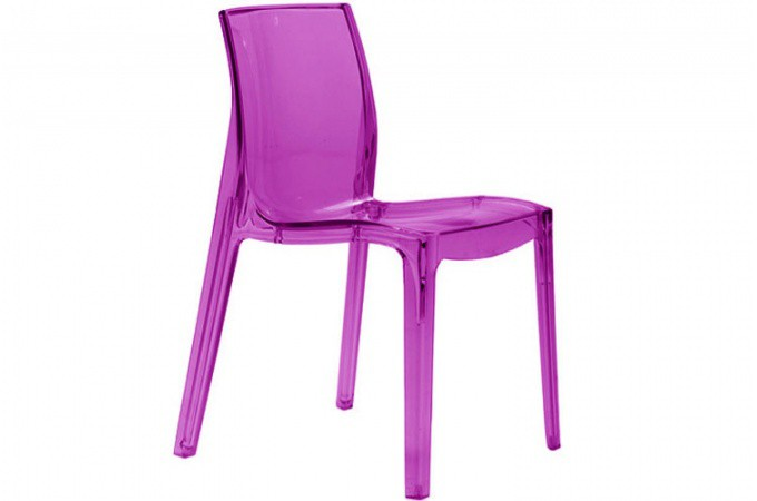 Lot de 2 chaises violette transparente lady chaises design pas cher - Chaise design violette ...