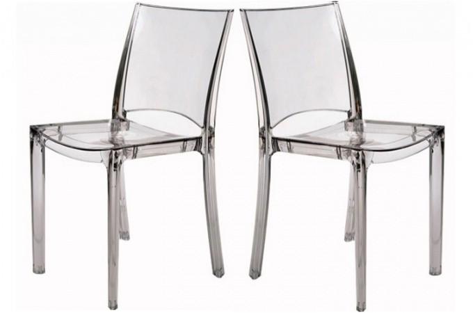 lot de 2 chaises transparente crystal ebay. Black Bedroom Furniture Sets. Home Design Ideas