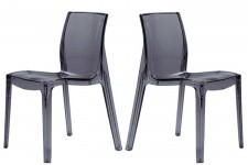 Lot de 2 Chaises Transparentes Anthracites LADY - Lot de 2 chaises design
