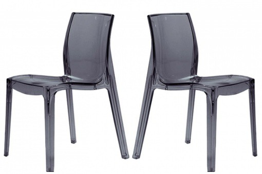 Lot de 2 Chaises Transparentes Anthracite LADY