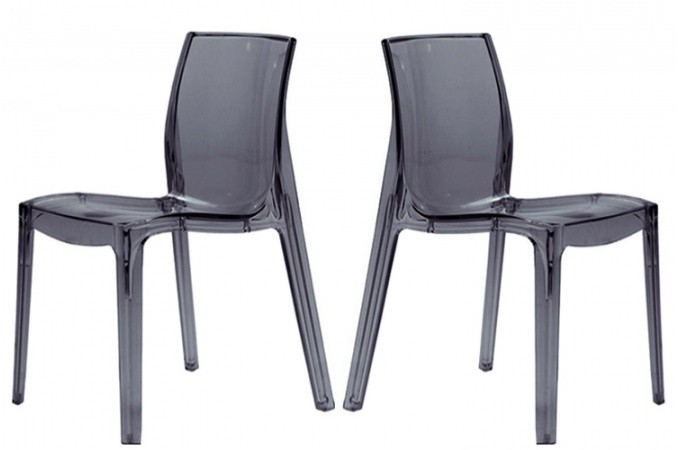 lot de 2 chaises transparentes anthracite lady chaises design pas cher. Black Bedroom Furniture Sets. Home Design Ideas