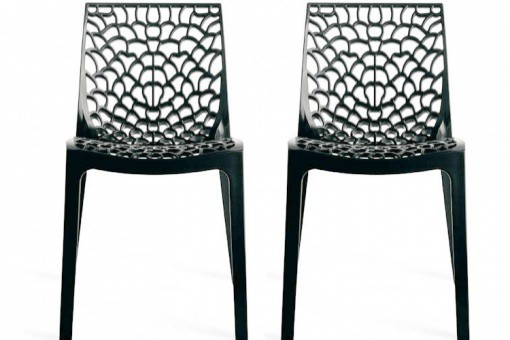 Lot de 2 chaises design anthracite gruyer chaises design - Lot de chaises design pas cher ...