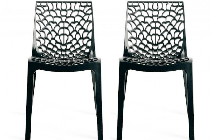 Lot de 2 chaises design anthracite gruyer chaises design for Chaise design de cuisine