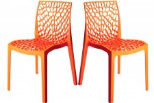Lot de 2 Chaises Design Orange GRUYER OPAQUE - Chaise orange design