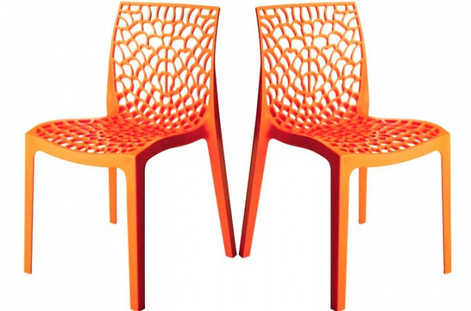 Lot de 2 chaises design orange gruyer chaises design pas for Chaise couleur pas cher