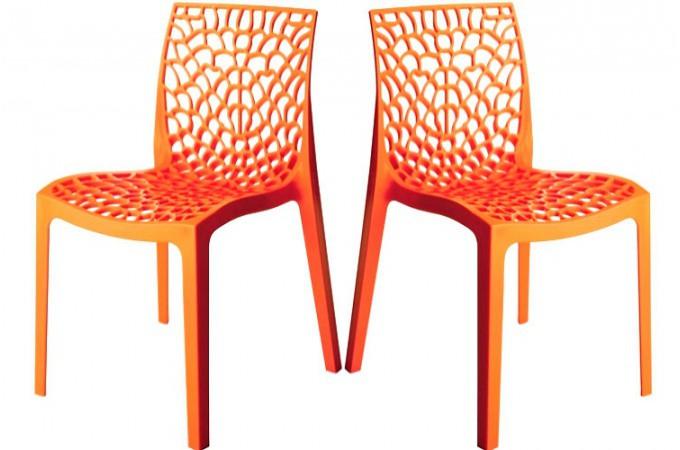 Lot De 2 Chaises Design Orange Gruyer Chaises Design Pas