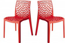 Lot de 2 Chaises Design Rouge GRUYER OPAQUE