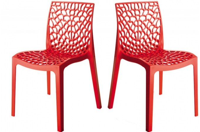 Lot de 2 chaises design rouge gruyer chaises design pas cher - Chaise d exterieur pas cher ...