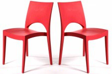 Lot de 2 Chaises Design Rouges VENISE