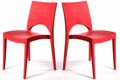 Lot de 2 Chaises design Rouge VENISE