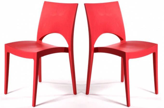 Lot de 2 chaises design rouge venise chaises design pas cher - Lot de chaise pas cher ...