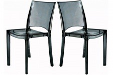 Lot de 2 Chaises Fumée Transparente NILO - Meuble transparent design