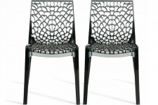 Lot de 2 Chaises Fumées Transparentes GRUYER TRANSPARENT - Lot de 2 chaises design