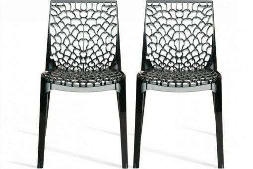 Lot de 2 Chaises Fumées Transparentes GRUYER TRANSPARENT