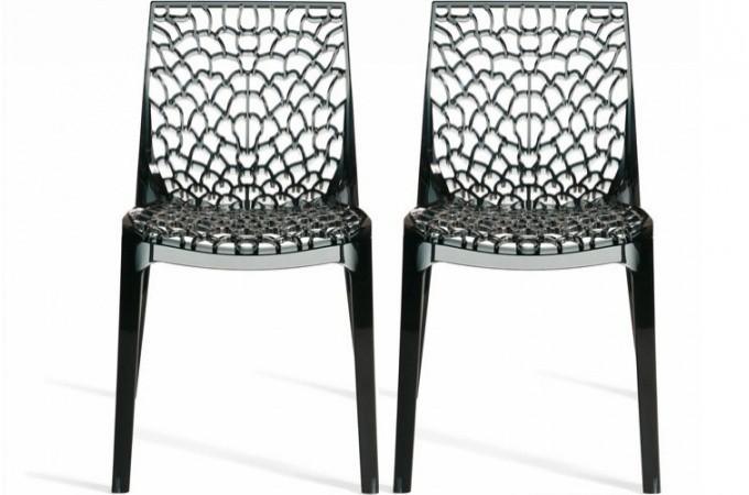 Lot de 2 chaises fum es transparentes gruyer chaises for Soldes chaises transparentes