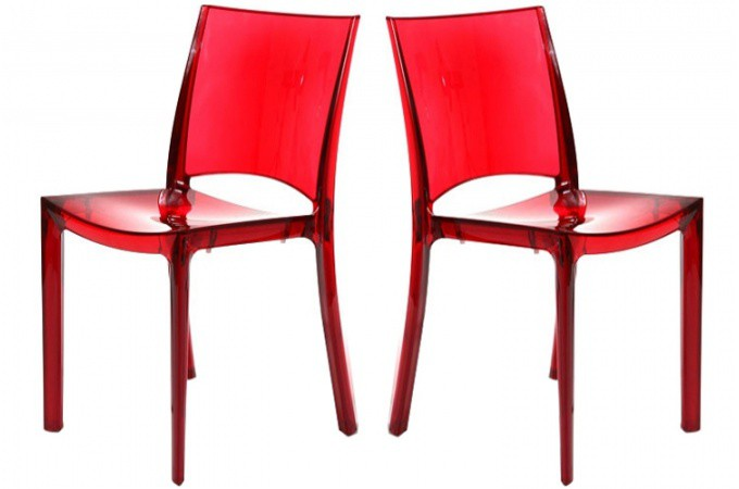 lot de 2 chaises rouge transparente crystal chaises design pas cher. Black Bedroom Furniture Sets. Home Design Ideas